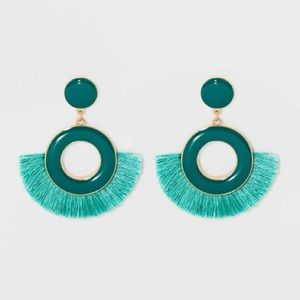 Baublebar Teal Drop Tassel Earrings